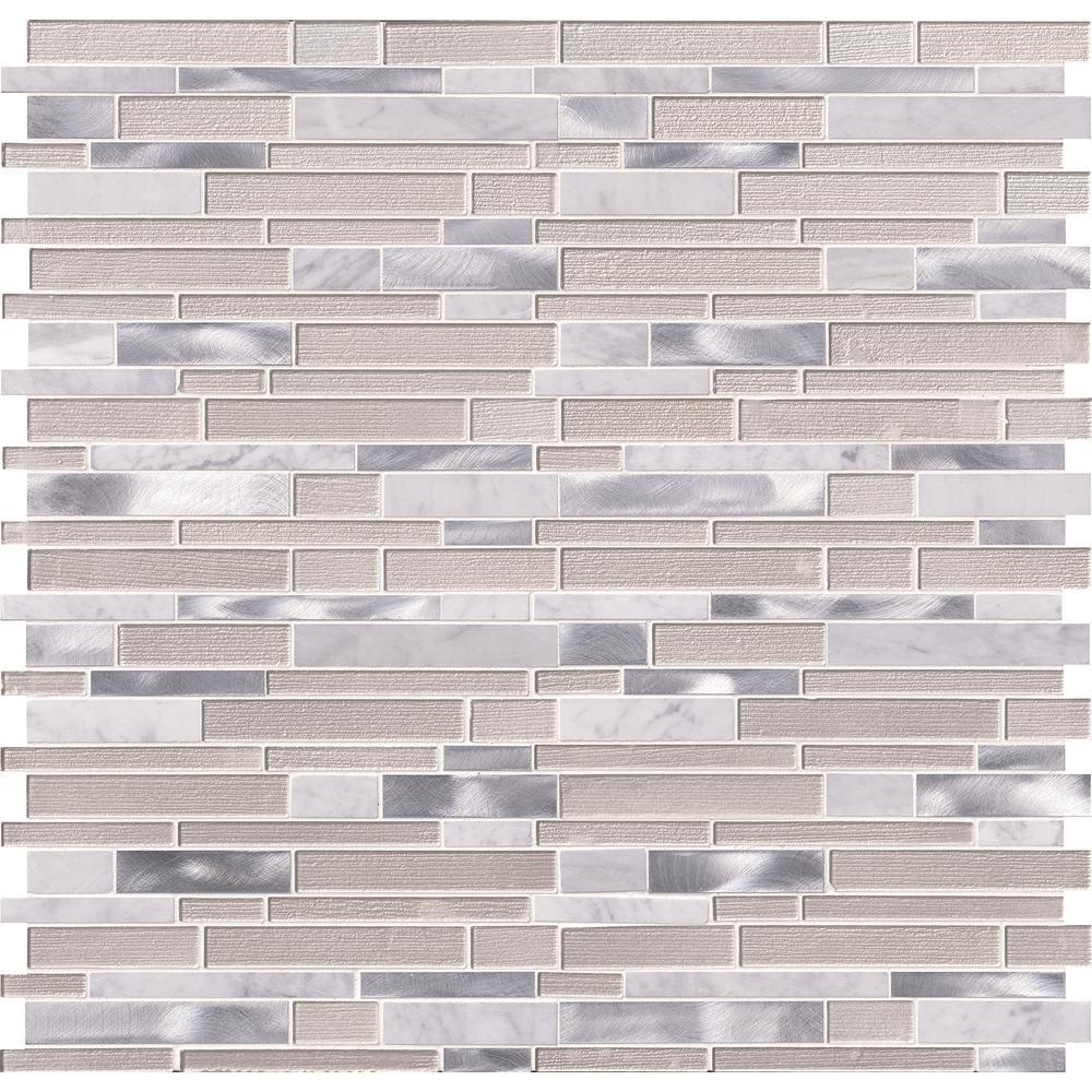 MSI White Wave Interlocking 12 in. x 12 in. x 4 mm Textured Glass Stone Metal Mesh-Mounted Mosaic Tile (20 sq. ft. / case)