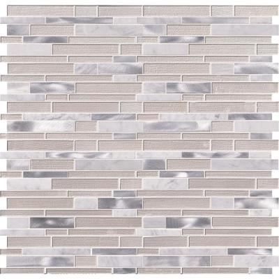 White Wave Interlocking 12 in. x 12 in. x 4 mm Textured Glass Stone Metal Mesh-Mounted Mosaic Tile (20 sq. ft. / case)