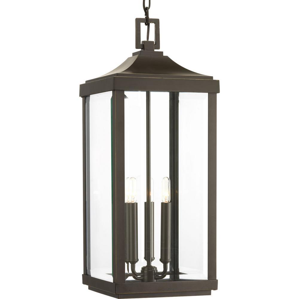 Gibbes Street Collection 3-Light Outdoor Antique Bronze Hanging Lantern