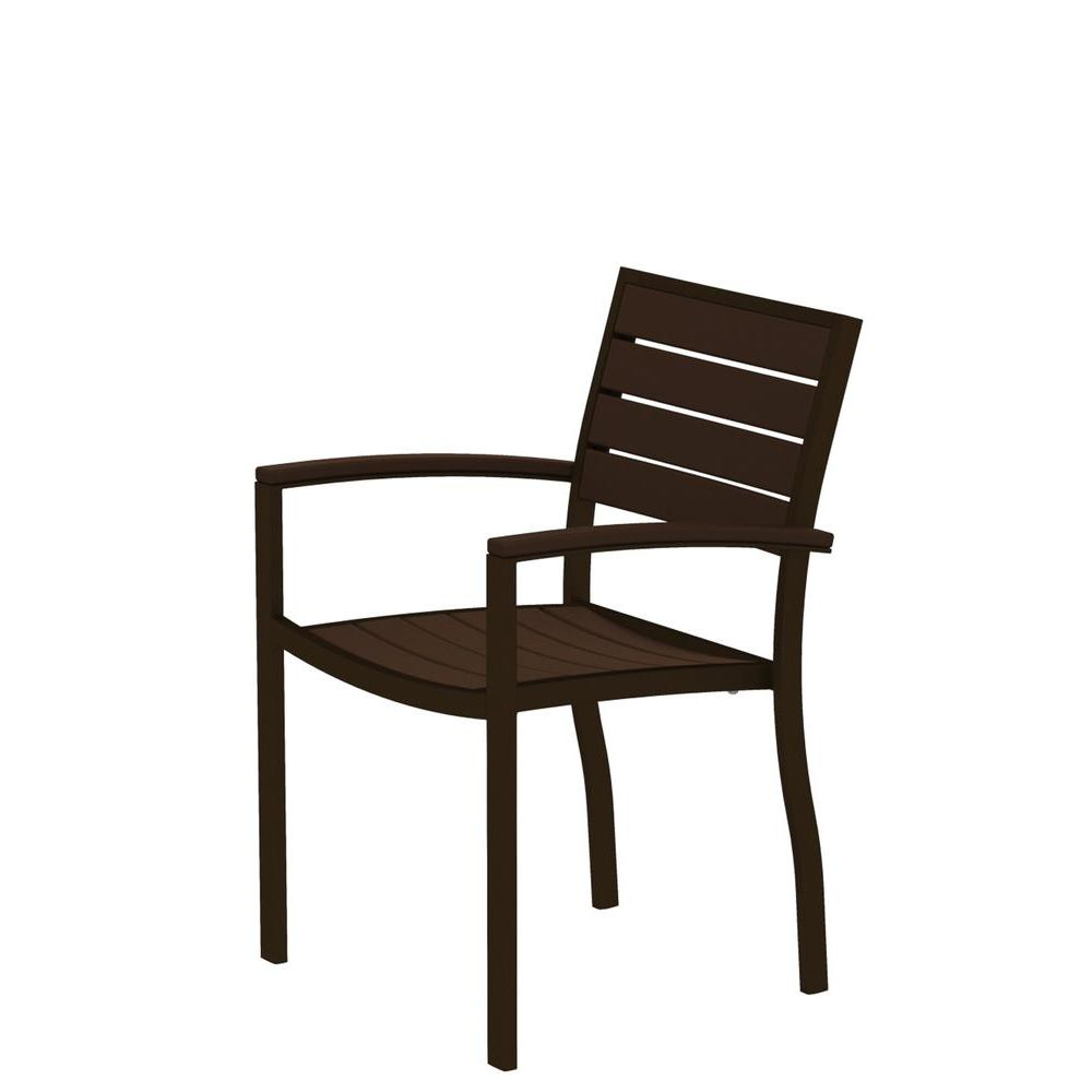 Euro Textured Bronze Patio Dining Arm Chair with Mahogany Slats