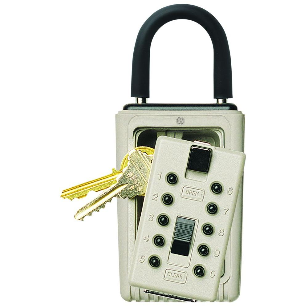 Kidde Portable 3-Key Lock Box with Pushbutton Combination Lock, Clay