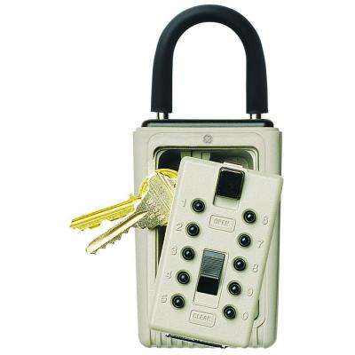 Portable 3-Key Box with Pushbutton Combination Lock, Clay