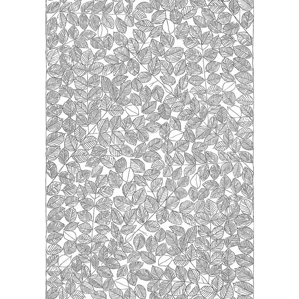 57.8 sq. ft. Romans Black Leaf Wallpaper