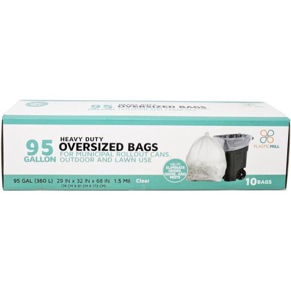 61 in. W x 68 in. H. 95 Gal. 1.5 mil Clear Trash Bags (10-Count)