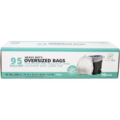 61 in. W x 68 in. H. 95 Gal. 1.5 mil Clear Trash Bags (10-Case)