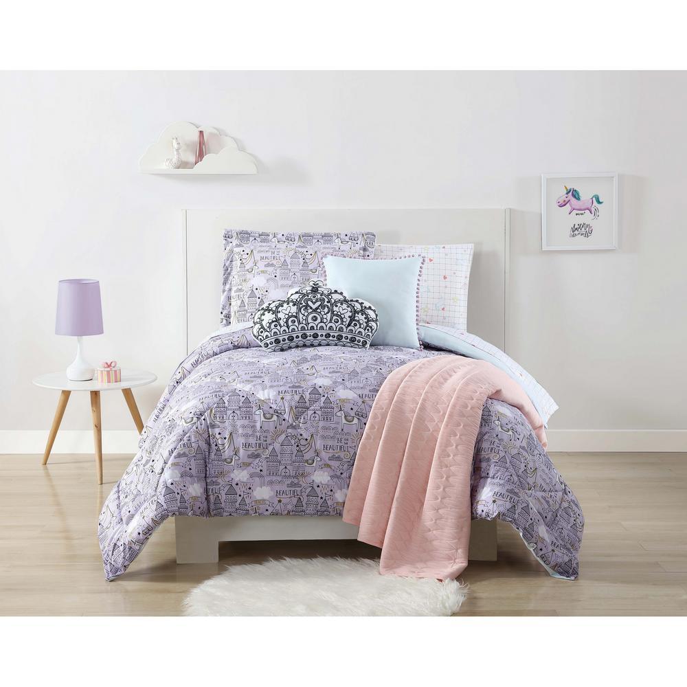 Unicorn Princess Printed Purple Twin XL Comforter Set