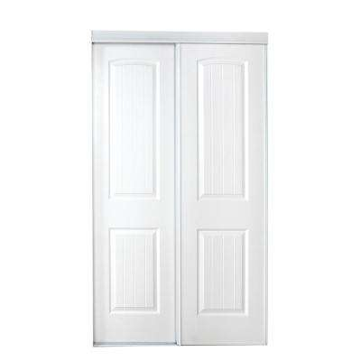 47 in. x 80 in. 107 Series Primed 2 Panel Bead Board Curved Primed MDF Sliding Door