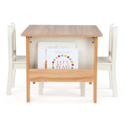 Journey 3 Piece Natural/White Kids Bookrack Table and Chair Set