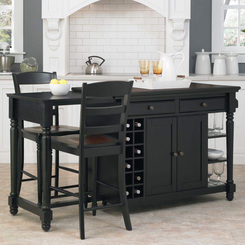 Home Styles Grand Torino Black Kitchen Island With Seating 5012 948 The Home Depot