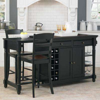 Grand Torino Black Kitchen Island With Seating
