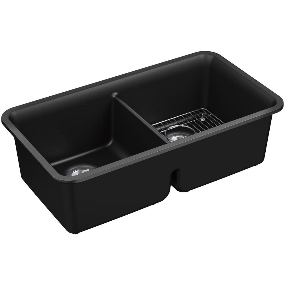 KOHLER Cairn Undermount Neoroc 34 in. Double Bowl Kitchen Sink Kit ...