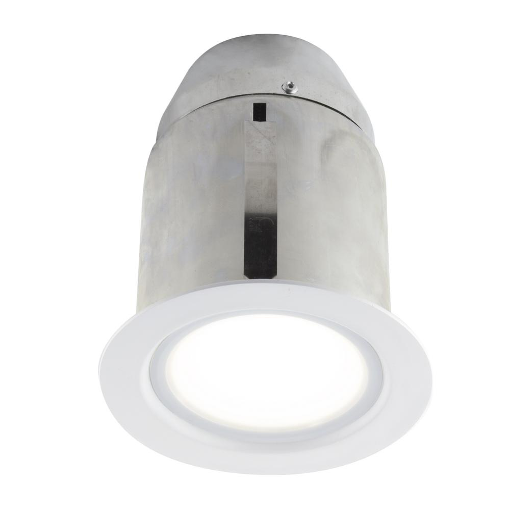 4-in. White Intergrated LED Recessed Fixture Kit for Damp Locations