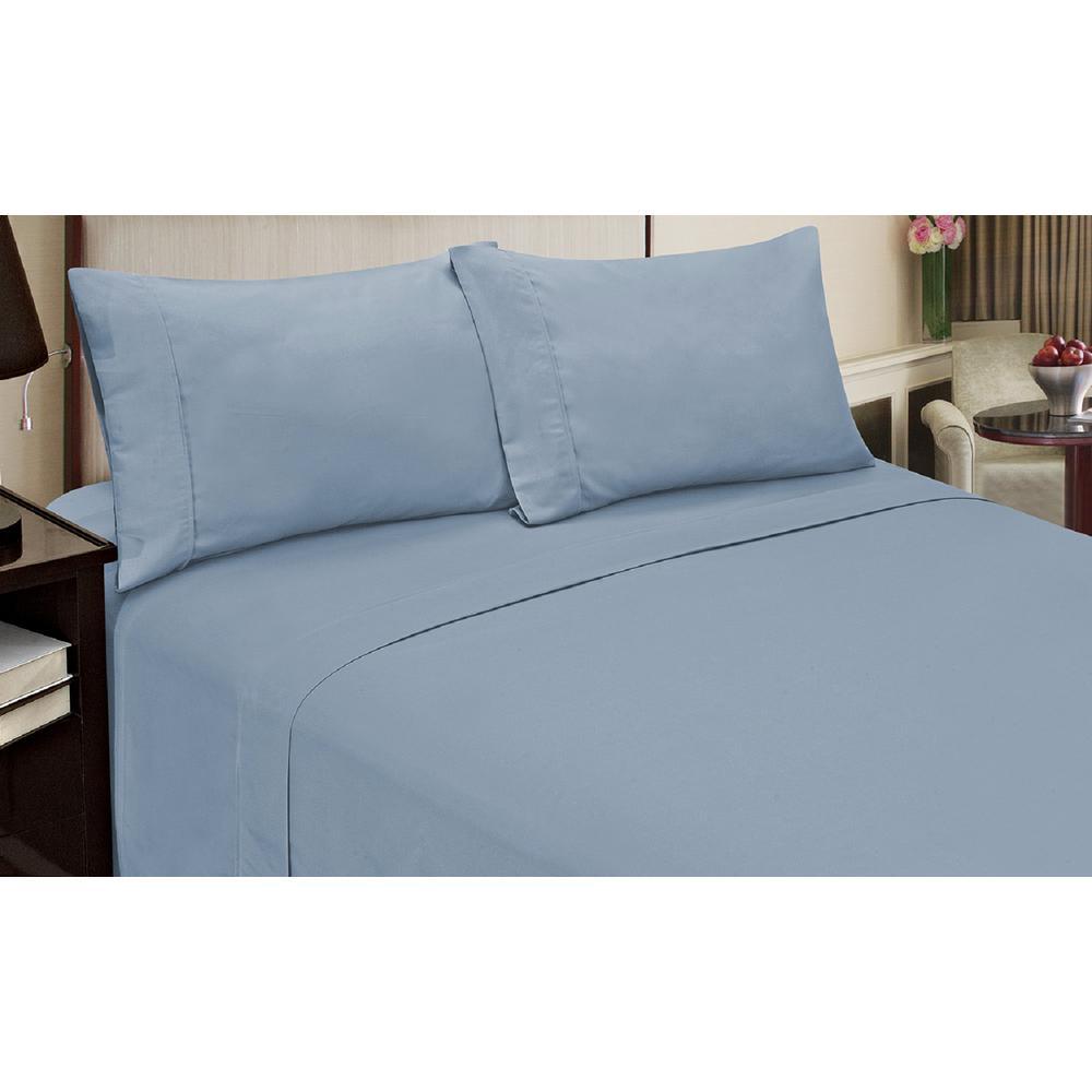Jill Morgan Fashion 4-Piece Solid Light Blue Queen Sheet Set