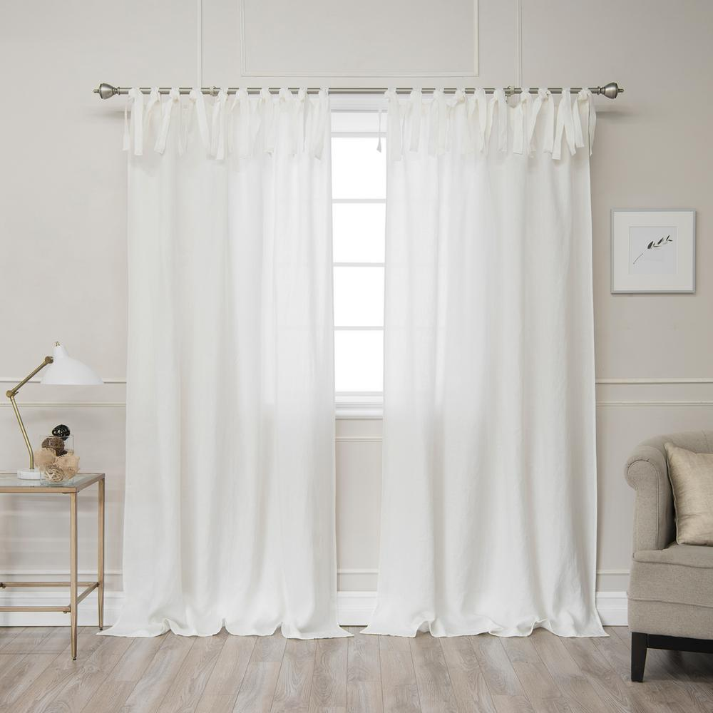 84 in. L Abelia Belgian Flax Linen Tie Top Curtain Panel