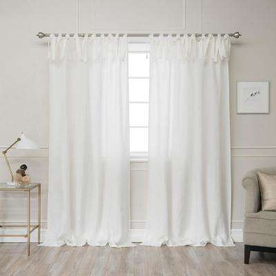 Ivory 96 in. L Abelia Belgian Flax Linen Tie Top Curtain Panel
