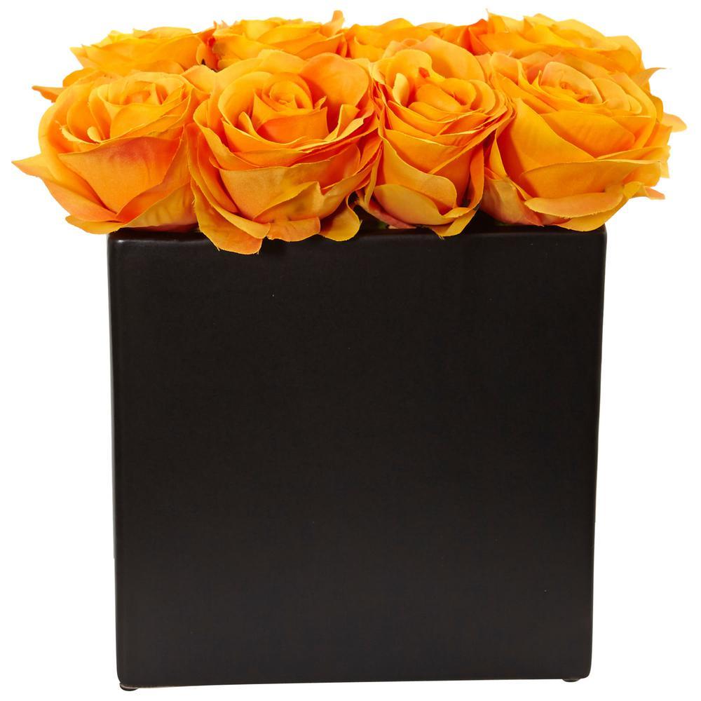 Nearly Natural Roses Silk Arrangement, Black