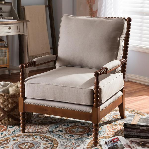 Baxton Studio Beaumont Beige Fabric Upholstered Accent Chair 28862-7333-HD