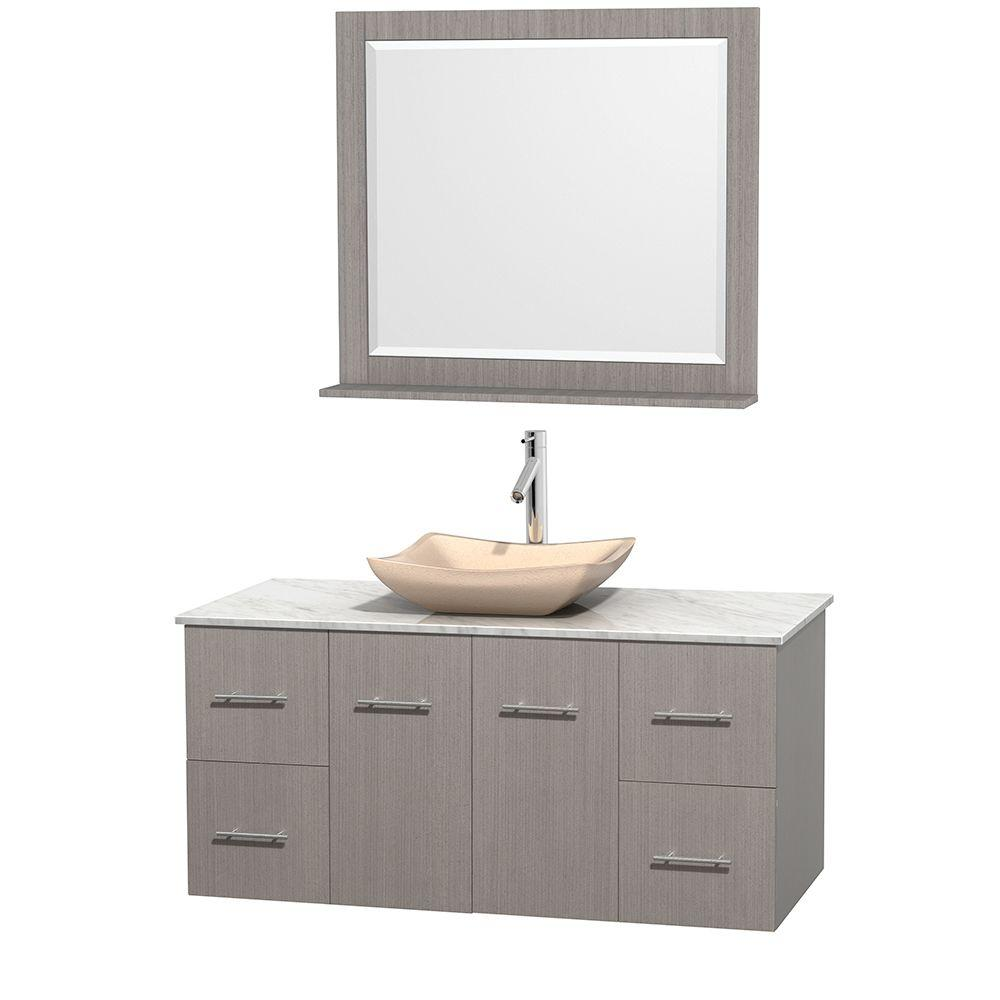 Wyndham Collection Centra 48 in. Vanity in Gray Oak with Marble ...