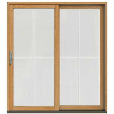 71-1/4 in. x 79-1/2 in. W-2500 French Vanilla Prehung Right-Hand Clad-Wood Sliding Patio Door with 4-Lite Grids