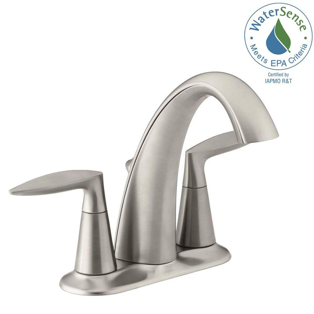 Alteo 4 in. Centerset 2-Handle Bathroom Faucet in Vibrant Brushed Nickel
