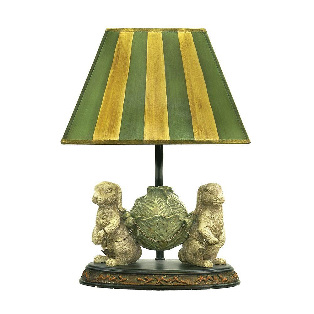 Piquant 14 in. Light GreenBunnies Bearing Dinner Lamp