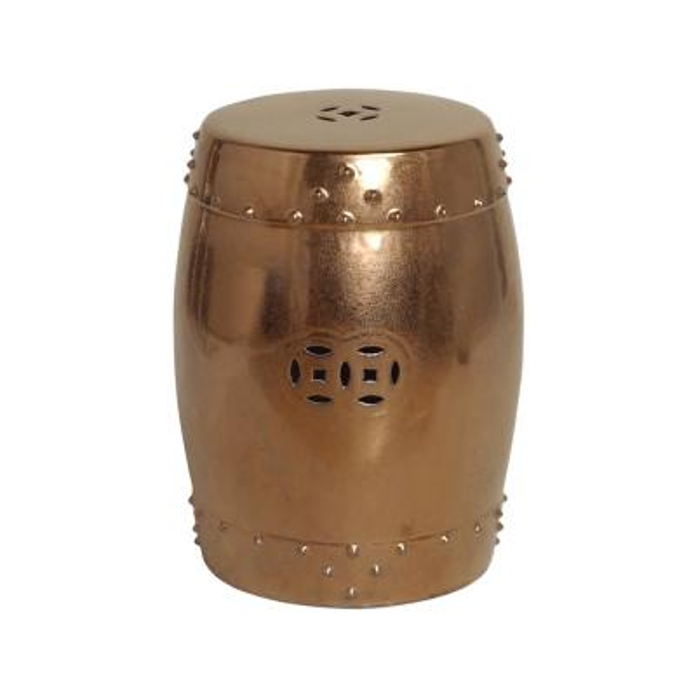 Gold Drum Ceramic Garden Stool
