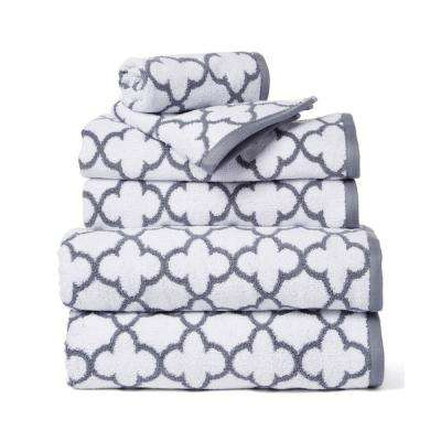 Irongate 6-Piece 100% Cotton Bath Towel Set in White/Silver