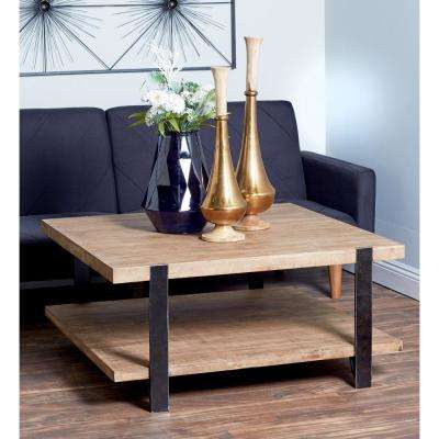 brown 2 tiered square coffee table - Square Coffee Tables