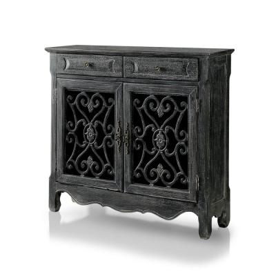Darcy Vintage 2-Drawer Antique Black Accent Cabinet