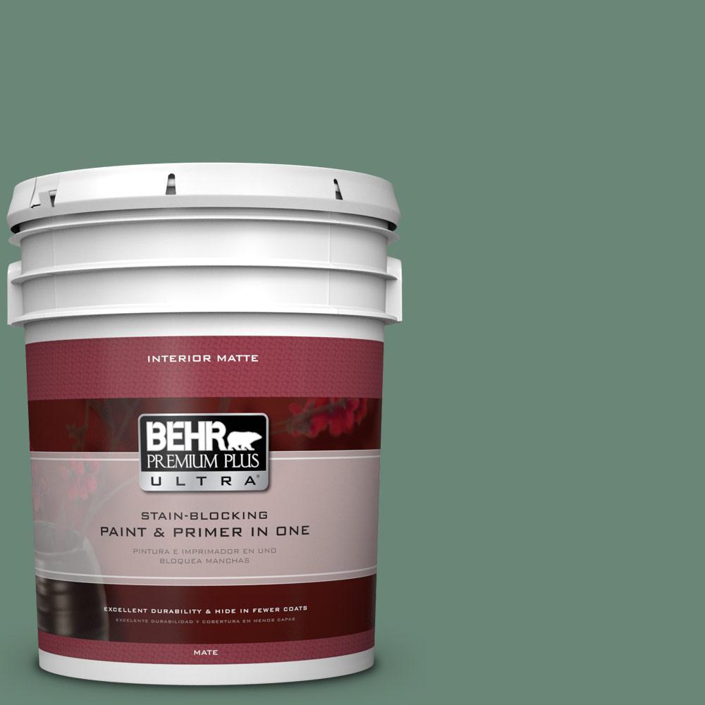 BEHR Premium Plus Ultra 5 gal. #PPF-35 Green Adirondack Flat/Matte Interior Paint