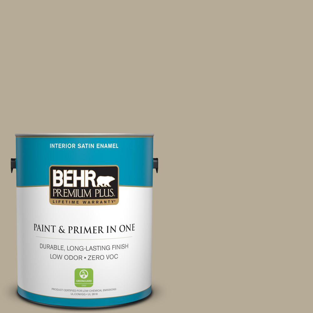 BEHR Premium Plus 1 gal. #N330-4 Explorer Khaki Satin Enamel Zero VOC Interior Paint and Primer in One