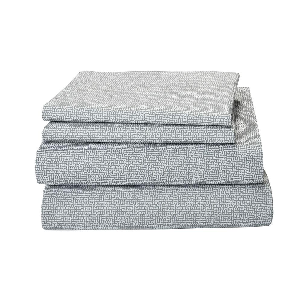 CstudioHomebyTheCompanyStore Cstudio Home by The Company Store On Point 4-Piece Silver Organic Cotton Percale Queen Sheet Set