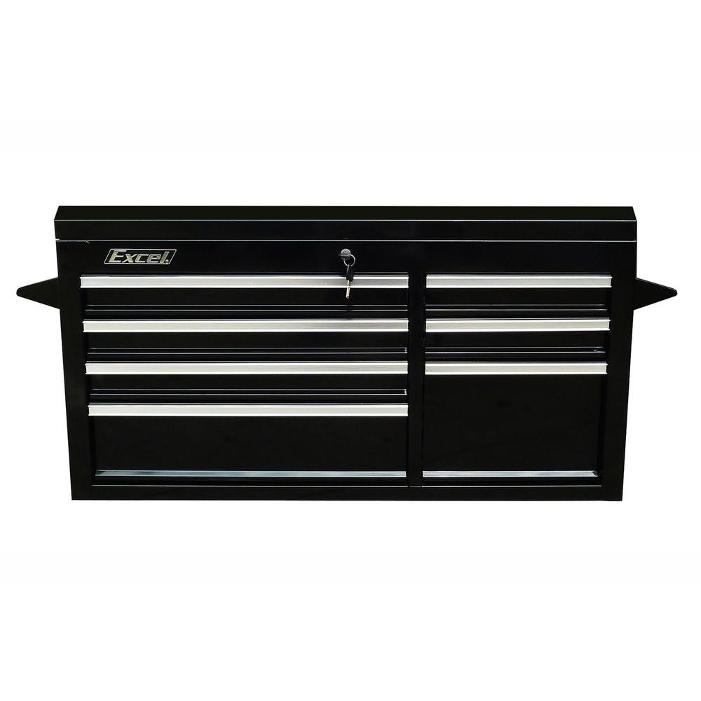 41 in. 7- Drawer Steel Top Chest, Black