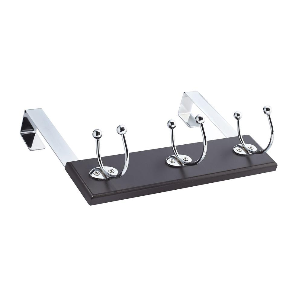 12 in. Over Door Expresso Board with 3 Chrome Cresent Hooks