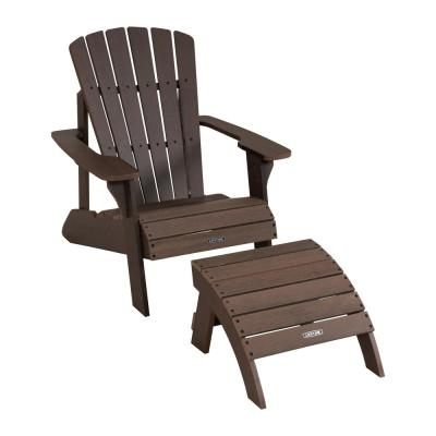 Composite Rustic Brown Adirondack Chair and Ottoman Set