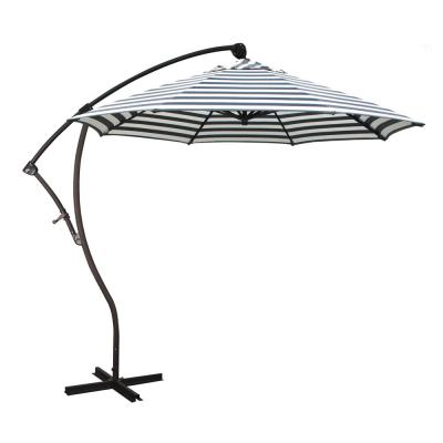 9 ft. Bronze Aluminum Cantilever Patio Umbrella with Crank Open 360  Rotation in Navy White Cabana Stripe Olefin