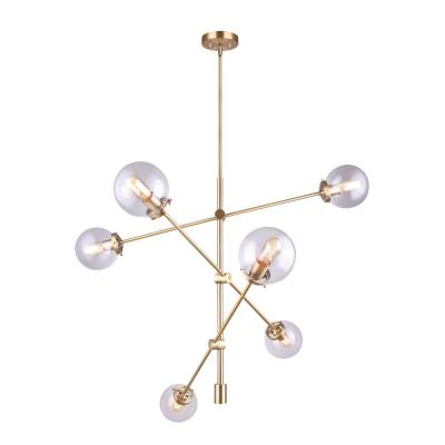 Kalani 6-Light Gold Sputnik Chandelier with Clear Glass Shades