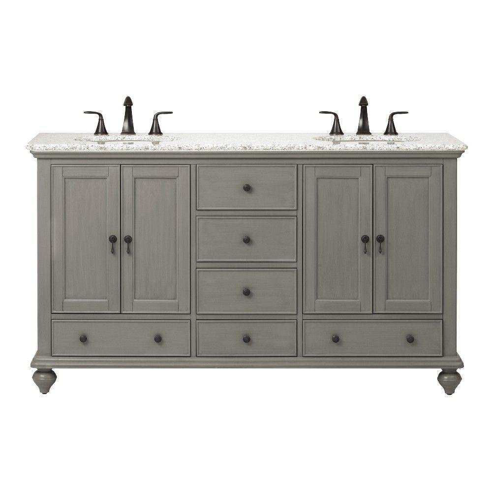 Home Decorators Collection Newport 61 In W X 21 1 2 In D Double Bath Vanity In Pewter With