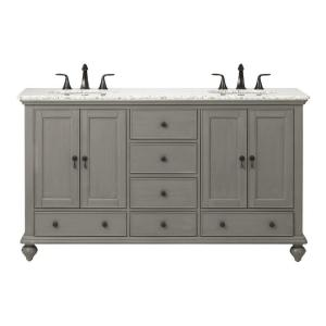 Home Decorators Collection Newport 61 inch W x 21-1/2 inch D Double Bath Vanity in Pewter... by Home Decorators Collection