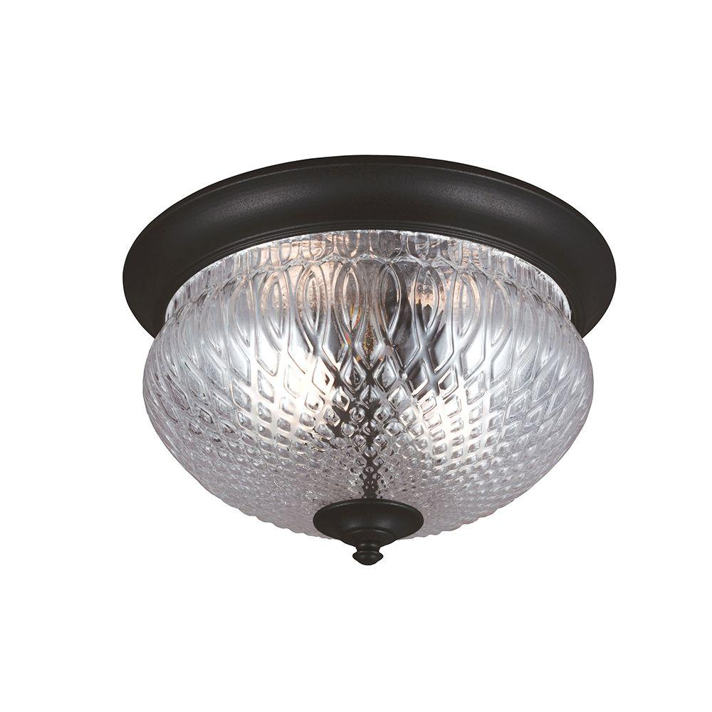Sea Gull Lighting Garfield Park 2-Light Outdoor Black Ceiling Flushmount with Clear Glass