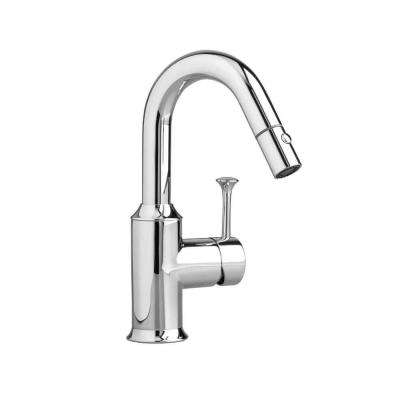 Pekoe Single-Handle Bar Faucet with Pull-Down Sprayer in Polished Chrome