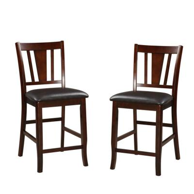 41 in. H Dark Brown and Black Wooden High Chair (Set of 2)