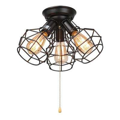 14 in. 3-Light Black Cage Pull String Semi-Flush Mount Light