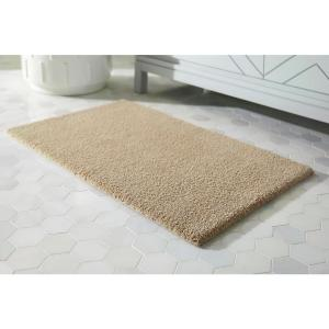 Khaki 21 in. x 34 in. Microplush Non-Skid Bath Rug