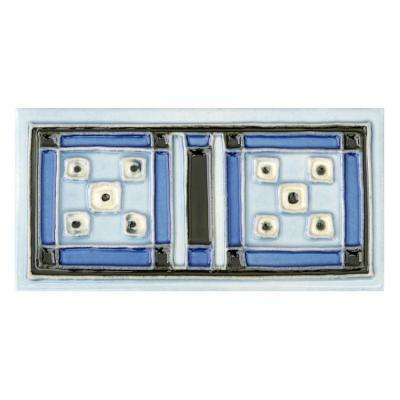 Hand-Painted Aztec Blue Deco 3 in. x 6 in. x 6.35mm Ceramic Wall Tile (1.25 sq. ft. / case)
