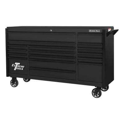 DX 72 in. 17-Drawer Roller Cabinet Tool Chest in Matte Black with Black Trim