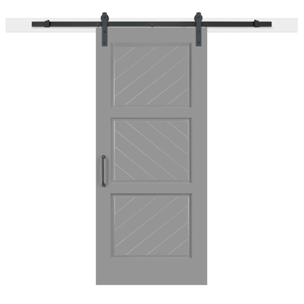36 in. x 84 in. Gray Geese Composite 3-Panel Herringbone Solid-Core