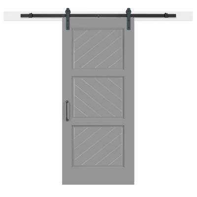 36 in. x 84 in. Gray Geese Composite 3-Panel Herringbone Solid-Core MDF Barn Door with Sliding Door Hardware Kit