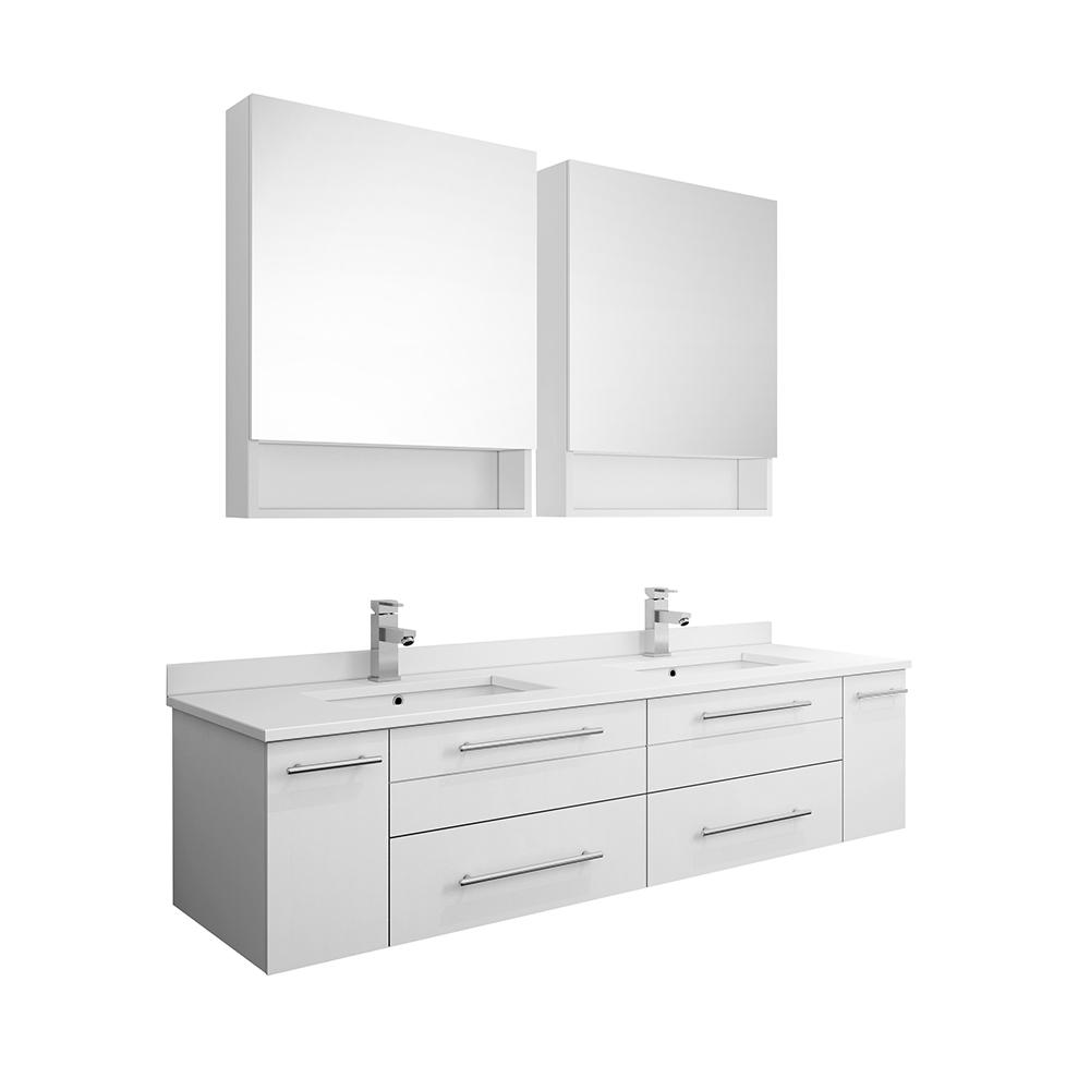 Fresca Lucera 60 In W Wall Hung Vanity In White With Quartz Double