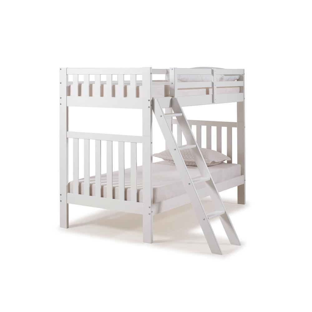 Alaterre Furniture Aurora White Twin Over Twin Bunk Bed
